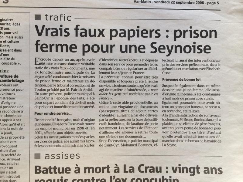 Vrais faux papiers : prison ferme pour une habitante de La Seyne sur mer
