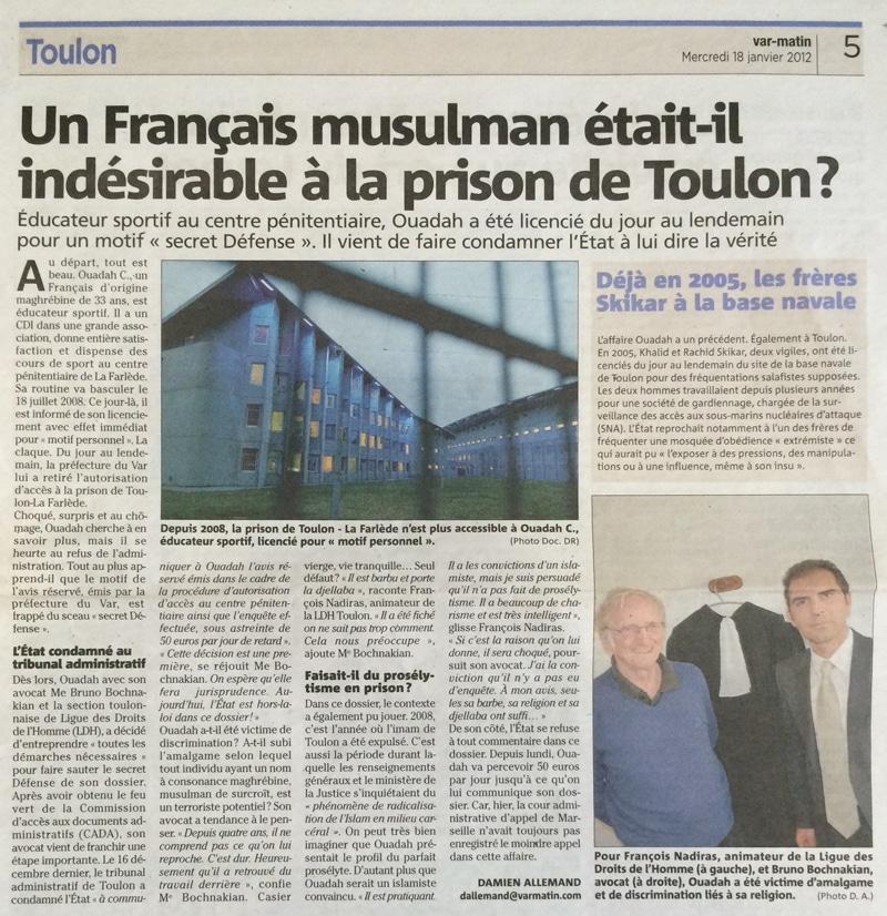 Un Français musulman était-il indésirable à la prison de Toulon ?